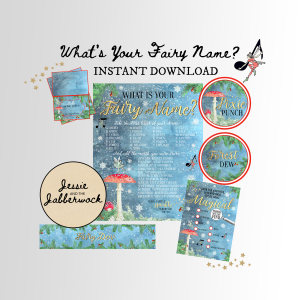 Winter What's your Fairy Name Party Printable set