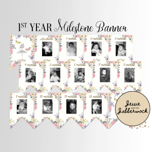 Vintage Fairy First Year Photo Banner Printable