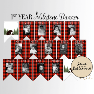 Bear First Year Photo Banner Printable