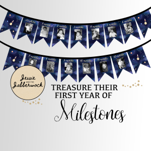 Space First Year Photo Banner Printable