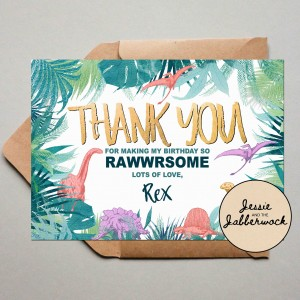 Gold Dinosaur Thank you Note
