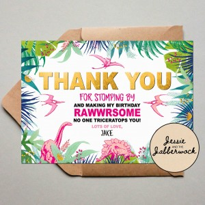 Pink Dinosaur Thank you Note