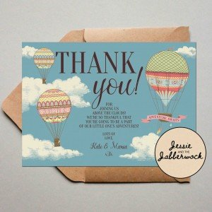 Hot Air Balloon Baby Thank you Note