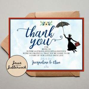 Practically Perfect Baby Thank you Note