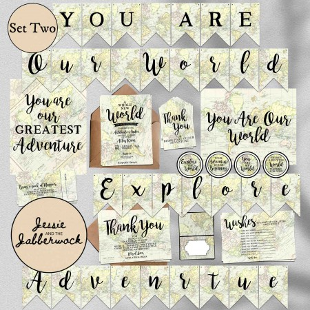 Adventure Awaits Baby Map Invite
