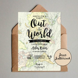 Out of this World Map Invite