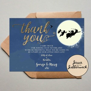 Blue Neverland Baby Thank you Note