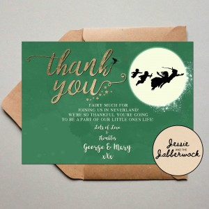 Green Neverland Baby Thank you Note