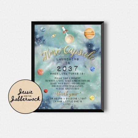 Space, Rocket, Planets Time Capsule